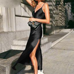 $enCountryForm.capitalKeyWord Australia - Maxi Sexy Satin Dress Summer Women Spaghetti Strap V Neck High Waist Slit Backless Black Red Long Dress Party Club designer clothes