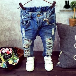 Wholesale down jeans for sale – denim Baby Boys Girls child Jeans Spring Winter Children Broken Hole Pants Trousers Fashion Yrs Kids Trousers Children Clothing ZJ04