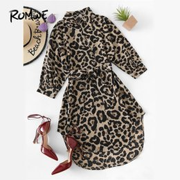 $enCountryForm.capitalKeyWord Australia - ROMWE Belted Leopard Print Stand Collar Dresses Women Casual Summer New Style Short Sleeve Female A Line Knee Length Sexy Dress T190601