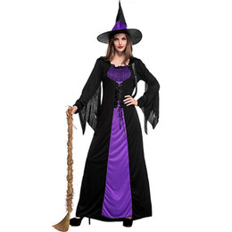 Gothic Woman Costumes UK - Adult Halloween Witch Costume For Women cosplay Sexy Purple Braces Dress Hat Carnival Party Female Suit