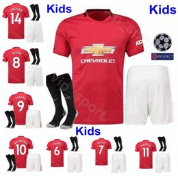 Discount boy custom shirts - Youth Man United Jersey Kids Set 2019 2020 Soccer POGBA RASHFORD LUKAKU MARTIAL LINGARD Football Shirt Kits Uniform Cust