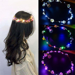neon hair headbands Australia - 6Pcs Glowing Garland Wedding Party Crown Flower Headband LED Light Christmas Neon Wreath Decoration Luminous Hair Garlands Hairband