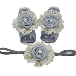infant feet accessories UK - Rose flower newborn foot baby headbands girls designer headband infant designer headbands baby accessories lace kids headband A5784