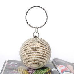 Gold Handles Australia - Fashion Mini Round Evening Bag Diamonds pearl Big Ring Top Handle Handbags Female 2019 Sliver Gold Party Wedding Clutch Purse