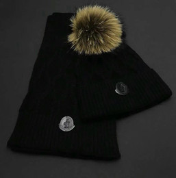 Hair Dye Balls Australia - Top Quality Celebrity design Letter Woolen Scarf Hat Men Woman Cashmere wool Fox hair ball hat 2pc 80076481 013 With Box