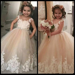 $enCountryForm.capitalKeyWord Australia - Trendy Lace Toddler Flower Girl Dresses Birthday infant Tutu 2019 Kids Pageant First Communion Dress Long Baby Prom Dresses Girl Wear Gowns