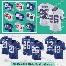 d17d61f73 Mens 26 Saquon Barkley Gaints Jersey 13 Odell Beckham Jr New York 10 Eli  Manning 15 Brandon Marshall 21 Landon Collins 87 Simms jerseys