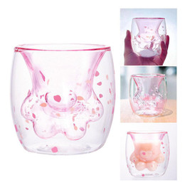 Double Walled Glasses Cups Australia - 12oz brand Cat Claw Paw Cup Heat-resistant Double Wall Glass Coffee Mug water bottle Creative Milk Beer Juice Tea Whiskey Cups AAA1873