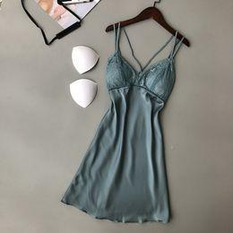 $enCountryForm.capitalKeyWord Australia - Sexy Lace Women Nightgown Ladies Lingerie Dress Sleepwear Nightwear Satin Night Dress Night Skirt Nighties For Women Sleepshirts S703