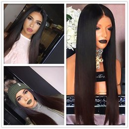 Brown Straight Wig Part Australia - Natural Long Straight Black Brown Blonde Wig Heat Resistant Lace Front Wigs with Baby Hair 180% Density Middle Part Synthetic Wigs For Women