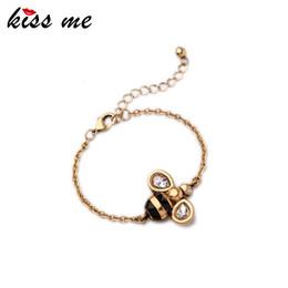 $enCountryForm.capitalKeyWord Australia - KISS ME Brand Alloy Bee Charm Bracelet Female Popular Cute Jewelry for Girls Color Antique Gold Color Bracelet