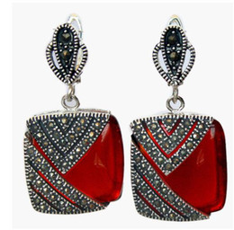 $enCountryForm.capitalKeyWord Australia - Women Gift word Love Square Natural Red stone 925 Sterling Silver Hook Marcasite Dangle Earrings for women jewelry