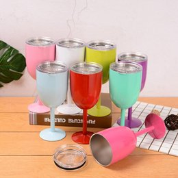 Champagne Coupes Australia - 2018 hot 10oz Stainless Steel Wine Glasses Double Wall Vacuum Insulated wine Goblet with lid pink mint red LX5097