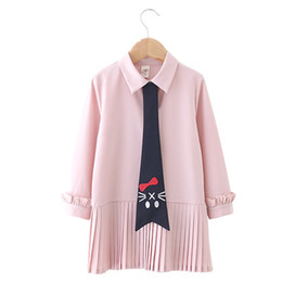 Kids tie shirts online shopping - Kids Girl Summer Dress Casual Pleated Dress Kids Designer Dresses Long Sleeve Solid Shirt Dress Cat Print Tie Soft Sundress Outfits