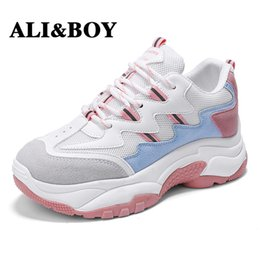 black running shoes for women NZ - ALIBOY White Women Running Shoes Tennis Brand Retro Platform Sneaker Lady Autumn footwear Black Breathable Sneakers for Women