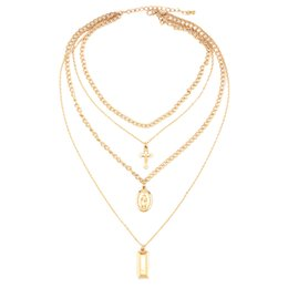$enCountryForm.capitalKeyWord UK - Square Cross Multilayer Pendant Necklace Alloy Multilayer Exquisite Clavicle Chain Necklace