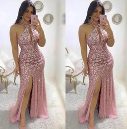 modern key NZ - Blush Pink Sheath 2020 Prom Dresses Major Beading Slit Front Formal Evening Gowns Halter Neck Key Hole Neckline Floor Length Party Pageant