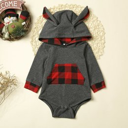 $enCountryForm.capitalKeyWord Australia - New Autumn Xmas Toddler Baby Boys Bodysuit Cute Plaids Hooded Cotton Jumpsuits Long Sleeve 3D ear Bodysuit Clothes 0-24M Outfits