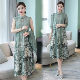 $enCountryForm.capitalKeyWord NZ - Summer Autumn New Chinese Style Stand Collar Dress Temperament Long Flower Two-piece Faux Silk Female Dresses