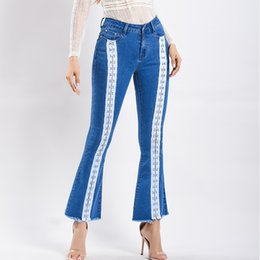 100032cb4b Women Jeans Plus Size 3XL Ribbon Female Stretch Slim Denim Flares Pants  Breathable Wede Leg Pants Fashion Bell Bottom Trousers