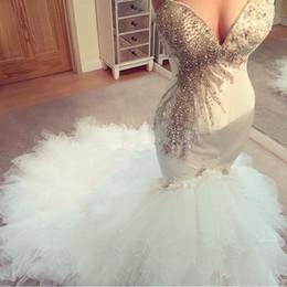 $enCountryForm.capitalKeyWord NZ - sparkly crystal mermaid wedding dresses spaghetti straps beaded corset organza ruffles country bridal gowns bling slim cheap robe de mariée