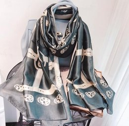 $enCountryForm.capitalKeyWord Australia - 2019 Spring and summer new style belt buckle Skull printed long scarf, female scarf, Letter jacquard 335