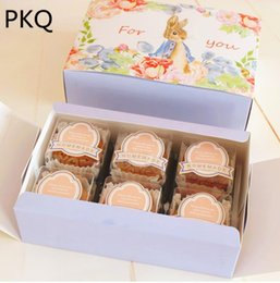 Design Cakes Cupcakes Australia - 10pcs 18*12*4.8cm Cute Rabbit Design Cupcake Box Cookie Paper Box Cheese Cake Paper Boxes Container Gift Packaging Wedding