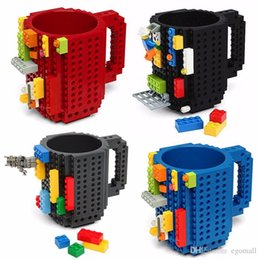 Black Blocks Australia - 12oz Build-On Brick Mug Type Building Blocks Coffee Cup DIY Block Puzzle Mug Portable Drinkware Drinking Mug 4 Colors