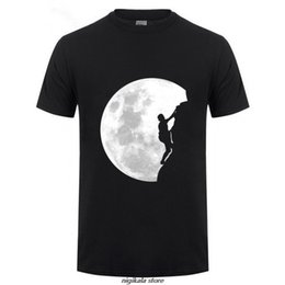 moon printed tee Australia - HanHent Funny T shirts Men Summer Fashion Climb The Moon Printed Tshirt Casual Short Sleeve O-neck T-shirt Cotton Tops Tees