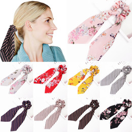 ponytails red long UK - 9 style stripe print hair ties Hair Scarf Bow large intestine loop satin long ribbon ponytail loop hair accessories hairband ZJJ121