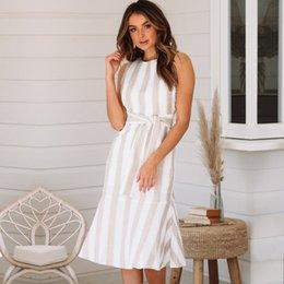 Toptan satış 2019 Joker Amazon AliExpress Dış Ticaret Patlamalar Avrupa ve Amerikan kadın Yeni A-line Etek Pamuk ve Kenevir Şerit Elbise