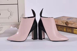 Sexy woman color painting online shopping - Fashionville u751 pink leather pointed thick with short boots luxury designer fashion show sexy fashion party wedding boots