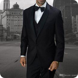 $enCountryForm.capitalKeyWord Australia - New Arrivial Black Groom Tuxedos Wedding Suits for Men 3Piece Formal Ceremony Man Suits Slim Fit Groomsmen Blazer Handsome Costume Homme