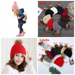 Knit girl hat online shopping - Kids Adults Beanie Colors Knitted Pom Pom Hats Winter Woolen Cap Pompom Beanies Fashion Boys Girls Crochet Caps Party Hats OOA5749