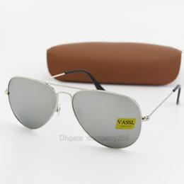 243adb5cd5 50 unids Moda Piloto G15 Lentes de vidrio Gafas de sol Mujeres Hombres  Txrppr Gafas de sol Gafas UV400 Marco de metal plateado 58 MM 62 MM Gafas  con espejo