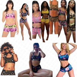 Wholesale tank bathing suit for sale – plus size Designer two piece swimsuit women bathing suit Sexy Bras Tank Top Swim shorts trunks cartoon floral Swimwear Tankini Swimming Suit D63002