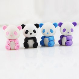 kids rubbers stationery Australia - Panda eraser cartoon removable rubber eraser stationery school supplies papelaria kids penil eraser toy gift Free shipping color random