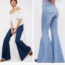 high waist trousers women clothes NZ - Summer Washed Flare Jeans Woman Denim Long Trousers Vintage Women Clothes 2019 High Waist Full Length Pants Stretchy Jeans New