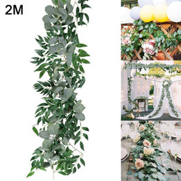 vines leaf UK - Artificial Hanging Eucalyptus Vine Leaves Garland Party Fake Vines Rattan Plants Ivy Wreath Wall Home Wedding Decor