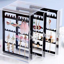 $enCountryForm.capitalKeyWord Australia - High Quality Fashion Acrylic Transparent Jewelry Storage Box Earrings Finishing Storage Display Stand Pendant Hook