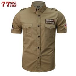 Military Collar Shirts Australia - Qiqichen Breathable Cotton Military Tactical Shirt Men 2018 Casual Summer Short Sleeve Men Shirt Plus Size M-6xl Chemise Homme Y190506