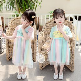 festival style clothing NZ - Girls Hanfu dress summer children's costume Chinese Outfit Kids Stage Performance Clothing Singer Festival Folk Dance