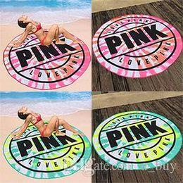 Venta al por mayor de 2018 Microfibra Rosa Toalla de Playa Redonda 160 cm Suave Secado rápido Baño de Natación Toallas Deportivas Manta de picnic envío gratis