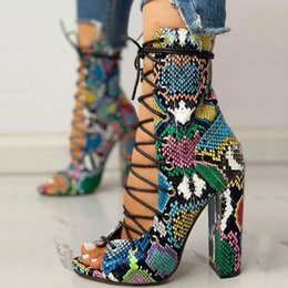 rubber cover boot shoes Australia - Sandals Fashion 2019 Summer Women's Ladies Lace Up Multicolor Snake Skin High Heel Sandals Shoes Boots sandalia feminina#12334