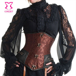 $enCountryForm.capitalKeyWord Australia - Vintage Brown Brocade Steampunk Underbust Corset Steel Bone Slimming Waist Trainer Corsets And Bustiers Sexy Gothic Clothing Y19072001