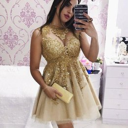 gold sequin prom dress short Australia - 2019 Stunning Gold Lace Short Prom Dresses Sheer Neck Sequin Beaded Tulle Cocktail Party Gowns Short Graduation Homecoming Dress