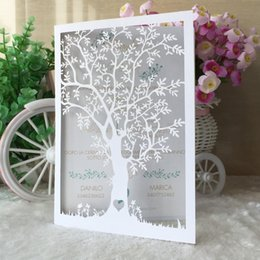 Lavender trees online shopping - 50pcs Sculpture Trees Envelope Unique Flavor Style Wedding Invitation Card Hollow Laser Cut Engagements Comely Party Supplies