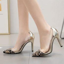 be8b31cb692a Chic snake grain patchwork PVC transparent pointed high heel silver pumps  women designer shoes size 35 to 40