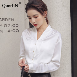 6b3ad468e34e3a QoerliN Sexy V-neck Vintage Satin Silk 2019 Spring New Shirt Temperament Long  Sleeve White Shirt Plus Size OL Work Blouse Tops