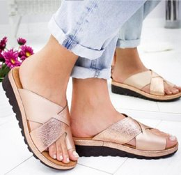 Silver Ladies Canvas Shoes Australia - Women slippers wedges summer mid heels sandals open toe platform beach shoes ladies big size gold silver zapatos de mujer